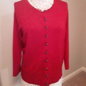Red Cardigan with Brasstone Buttons